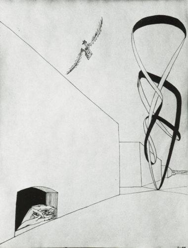 """""""Mains regardant une forme"""", encre de chine, 27x21 cm, 1946"""