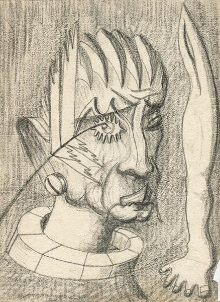 """""""Tristesse"""", crayon sur papier, 27x21, 1942"""