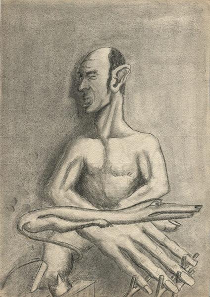 """""""Mendiant au chien"""", crayon et fusain sur papier, 27x21, 1942"""