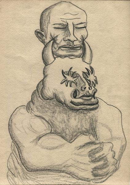 """""""Minotaure 1"""", crayon sur papier, 30x21 cm, 1942"""