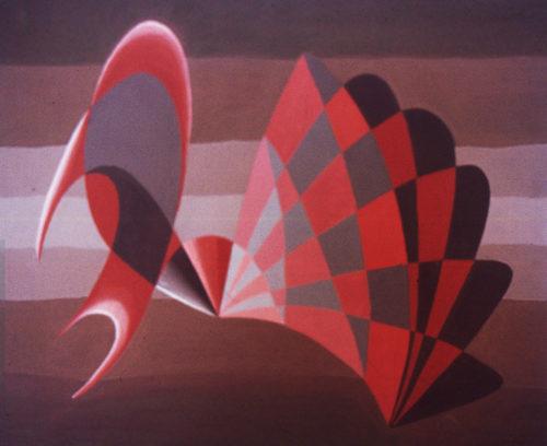 """""""Éventail rouge"""", huile sur papier, 46x38 cm, 1946"""
