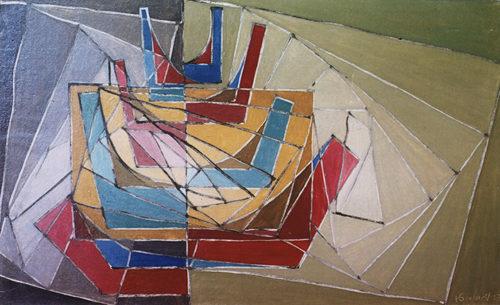 """""""Chromatisme"""", huile sur toile, 27x46 cm, 1957"""