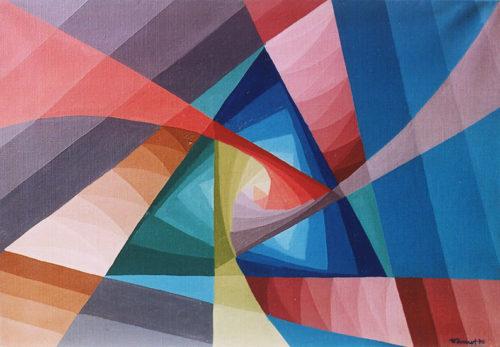 """""""Tourbillon bleu"""", huile sur toile, 46x65 cm, 1970"""