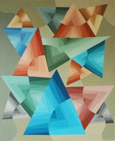 """""""Contradictions triangulaires"""", huile sur panneau, 55x47 cm, 1975"""