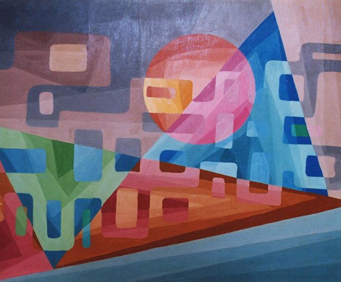 """""""Paysage indescriptible"""", huile sur panneau, 50x65 cm, 1977"""