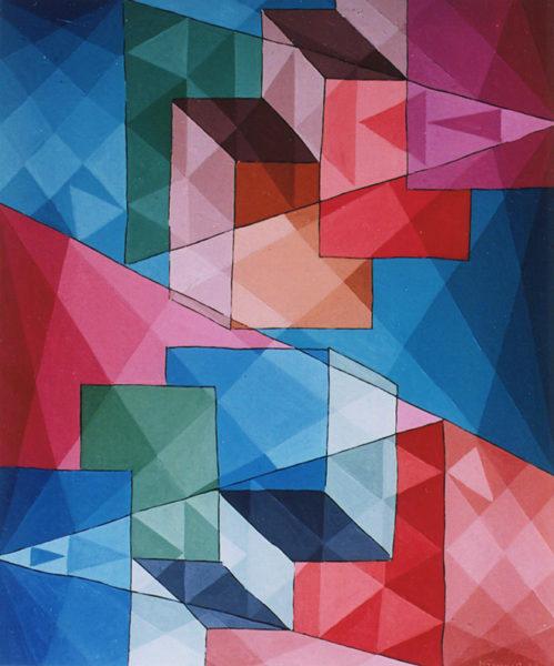 """""""Jeux cubiques 2"""", huile sur Iso, 55x46 cm, 1978"""