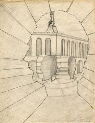 """""""Cerveaux"""", crayon sur papier, 27x21 cm, 1947"""