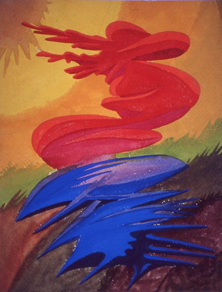 """""""Souffle"""", huile sur papier, 27x35 cm, 1946"""
