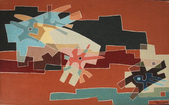 """""""La douceur"""", huile sur toile, 27x46 cm, 1954"""