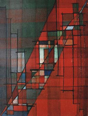 """""""Diagonales"""", huile sur toile, 46x33 cm, 1955"""