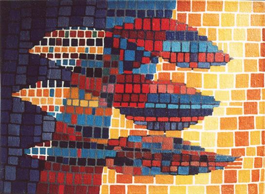 """""""Nuages"""", huile sur toile, 33x46 cm, 1959"""