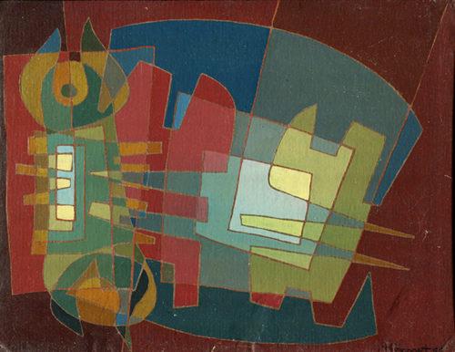 """""""Trois points"""", huile sur couverture de bottin, 22x28 cm, 1954"""